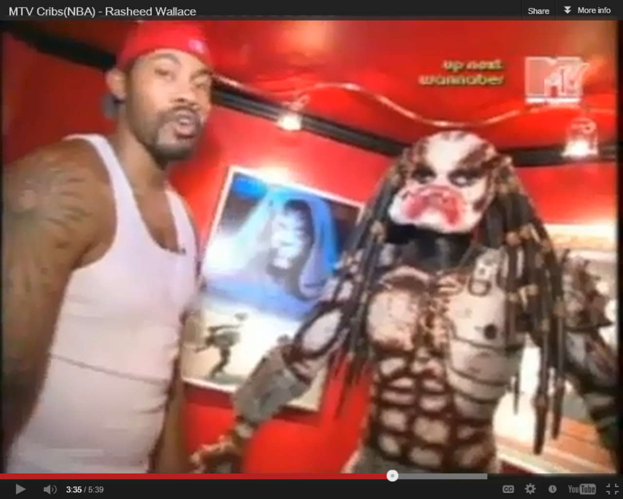 RASHEED WALLACE HAS A GIANT PREDATOR STATUE AND EPISODE I POSTER